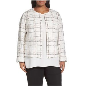 Lafayette 148 Linda Plaid Collarless Jacket